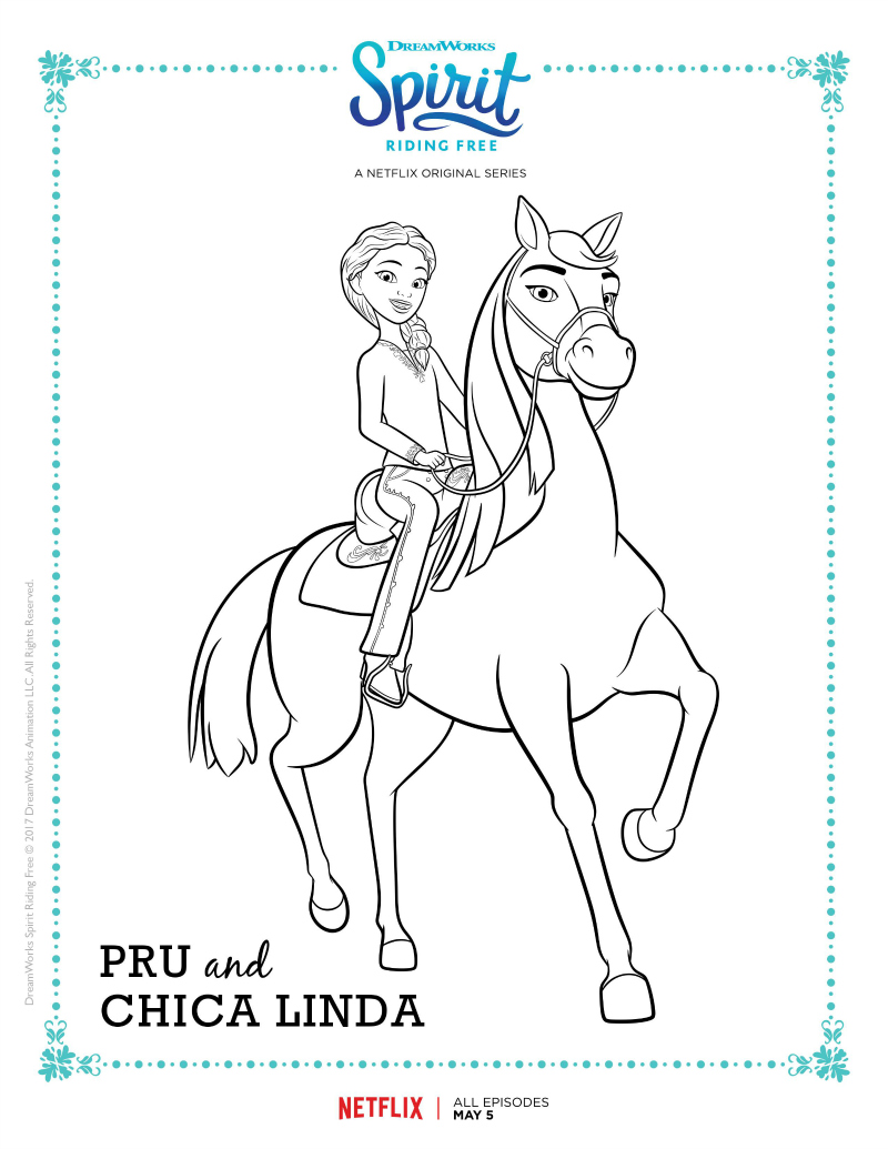 Spirit Riding Free Pru and Chica Linda Coloring Page