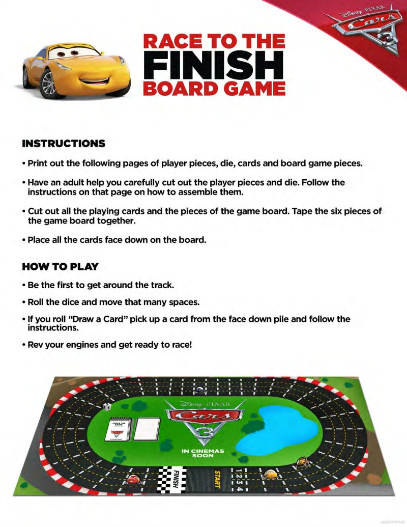 Free Disney Cars 3 Board Game