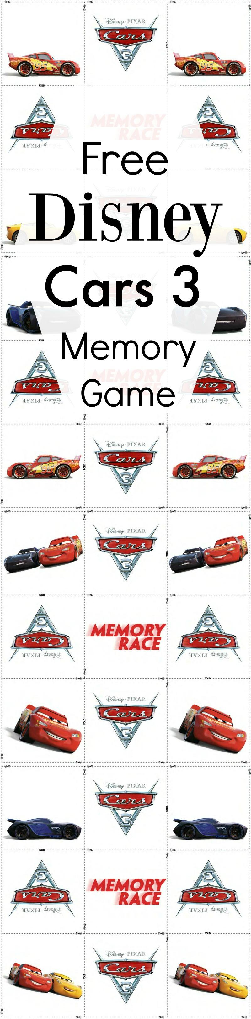 Free Disney Cars 3 Memory Match Game