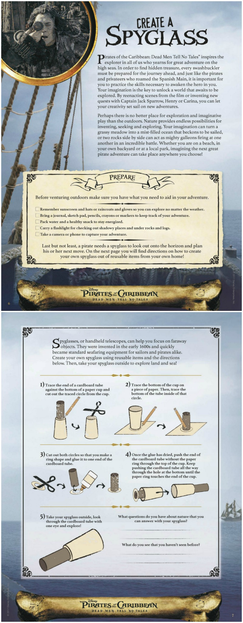 Disney Pirate Spyglass Craft with Printable Instructions - Pirates of the Caribbean Dead Men Tell No Tales