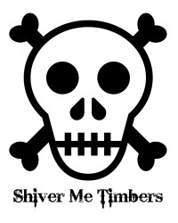Free Printable Shiver Me Timbers Pirate Skull and Crossbones Coloring Page