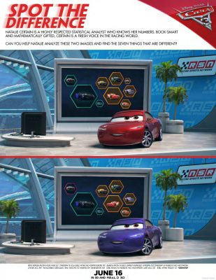 Disney Cars 3 Spot The Differences Activity Page