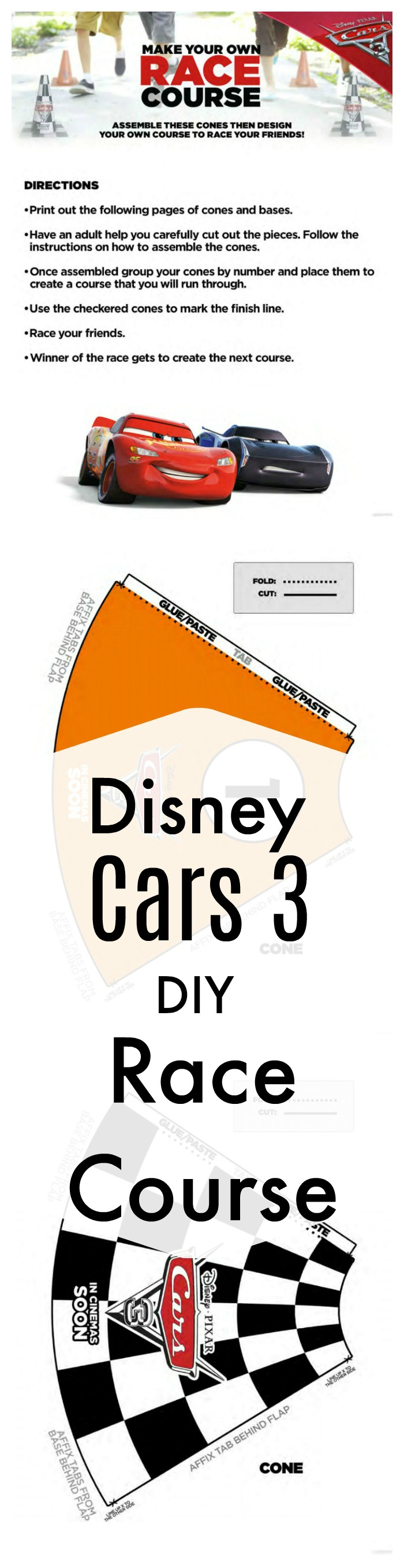 Disney Cars 3 Printable DIY Race Course Game