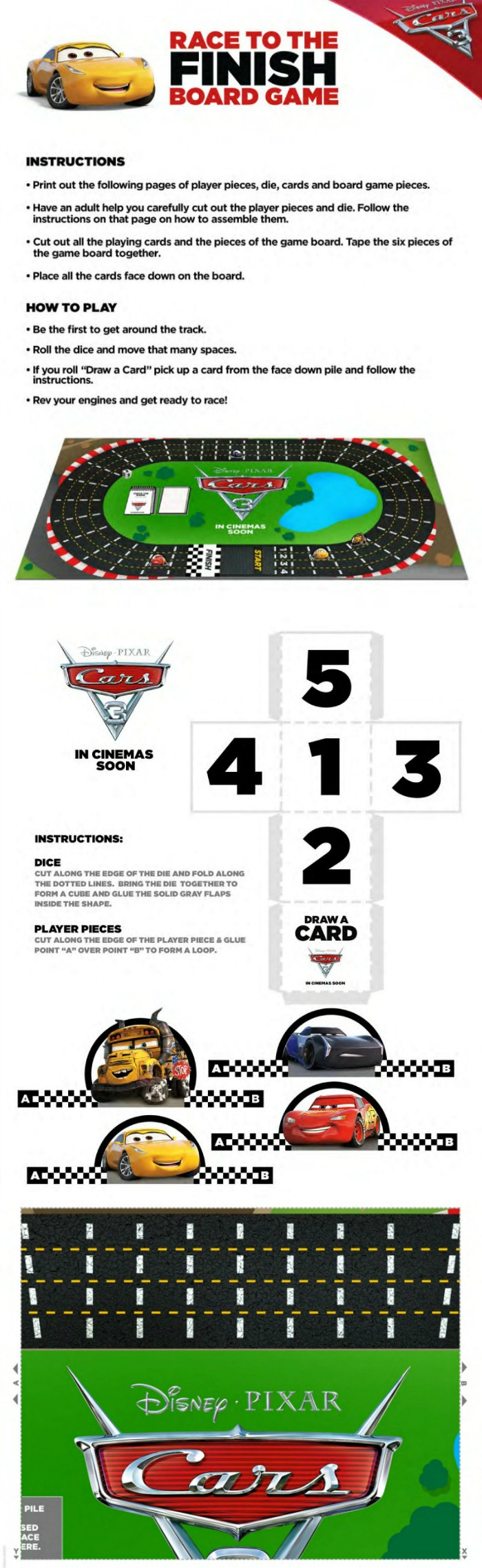 Free Disney Cars 3 Board Game to print and play