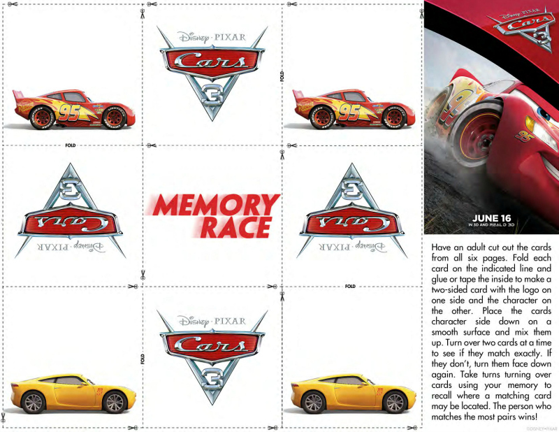 Free Disney Cars 3 Memory Match Game