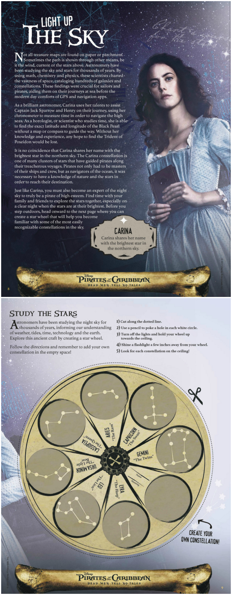 Disney Pirates of The Caribbean Study The Stars Activity Page