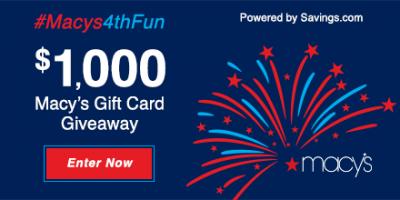 Macy's 4th Fun $50 Gift Card Giveaway – 20 Winners – Ends 7/4/17