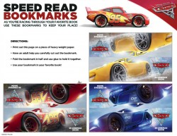 Free Disney Cars 3 Speed Read Bookmarks