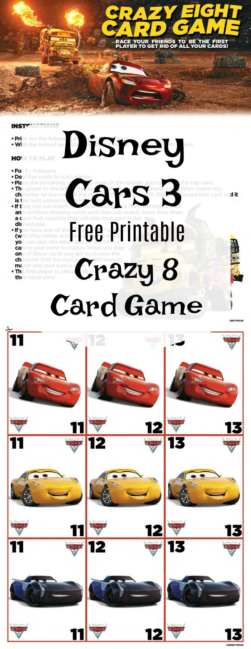 Free Cars 3 Disney Crazy 8 Card Game