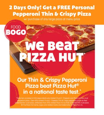 Chuck E. Cheese's National Pepperoni Pizza Day BOGO Deal