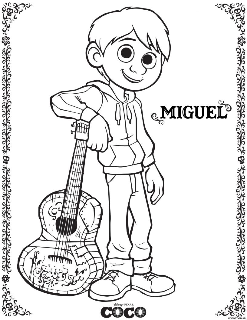 Free Disney Pixar Coco Miguel Coloring Page