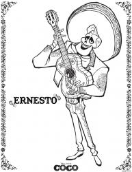 Free Disney Pixar Coco Ernesto Coloring Page