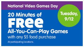 Chuck E Cheese's Free Video Game Play Offer