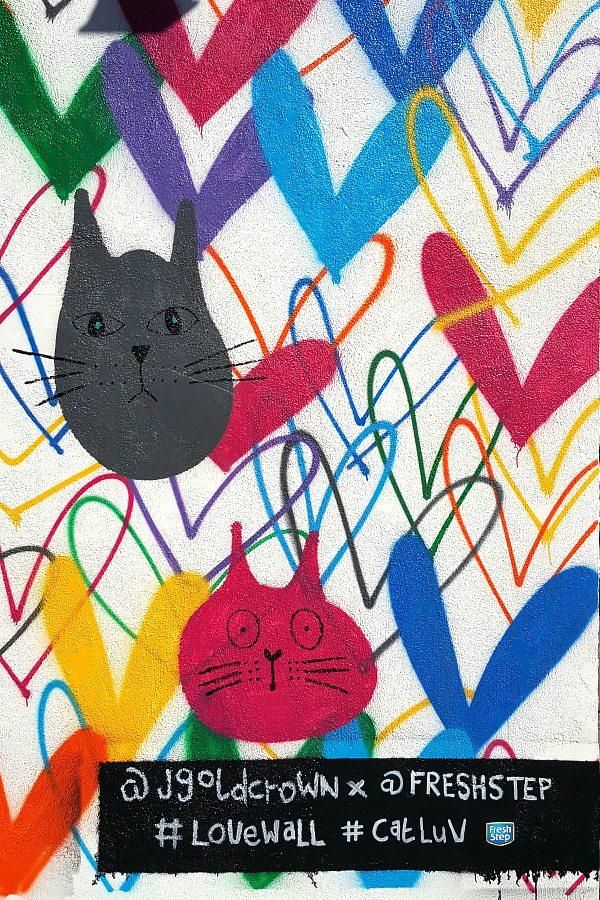 #CatLuv #LoveWall Mural by James Goldcrown