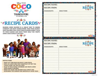 Free Disney Coco Printable Recipe Cards