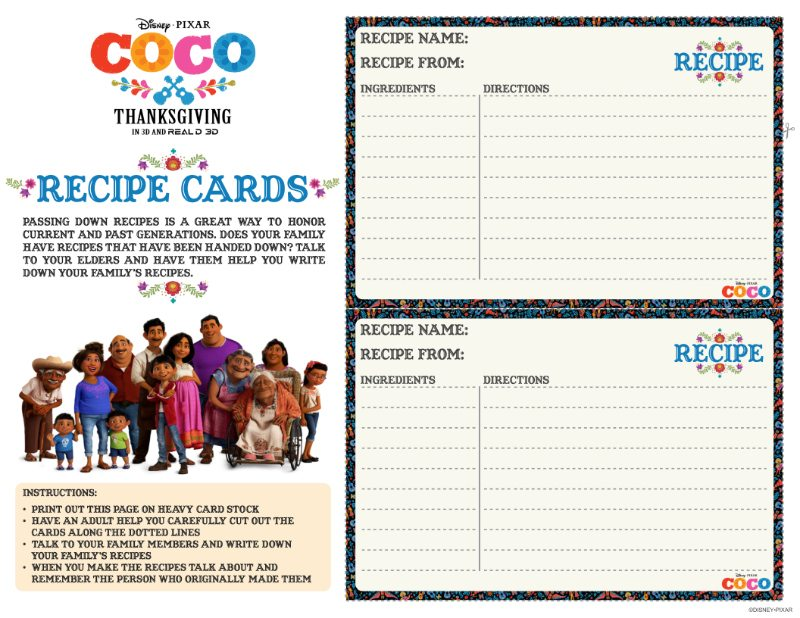 Free Printable Disney Coco Recipe Cards | Mama Likes This