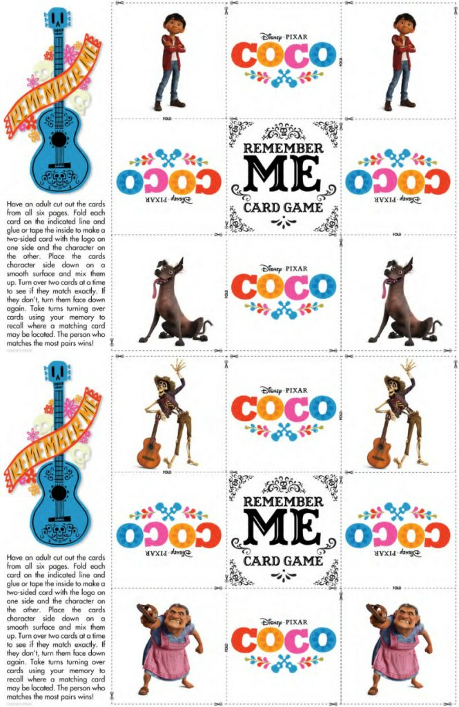Free Disney Coco Game Printable Memory Match Cards