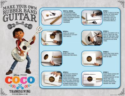 Rubber band guitar craft from Disney Pixar Coco