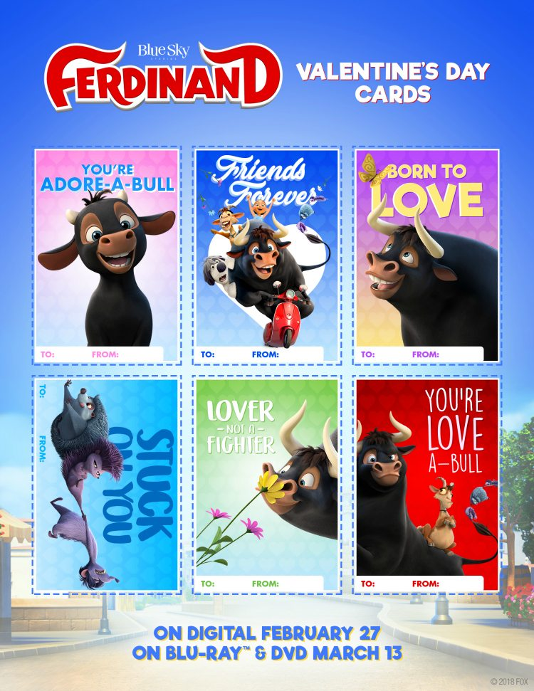 Free Printable Ferdinand Valentines Day Cards