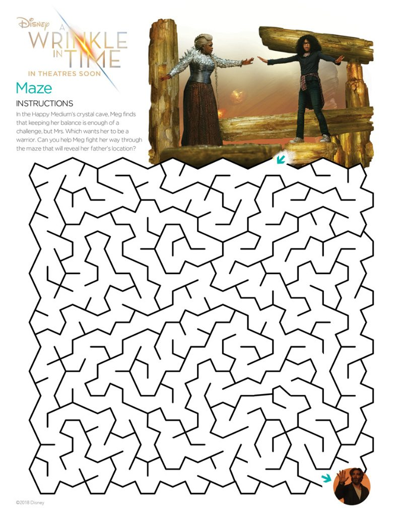 Free Disney Maze - Wrinkle in Time Printable Activity Page