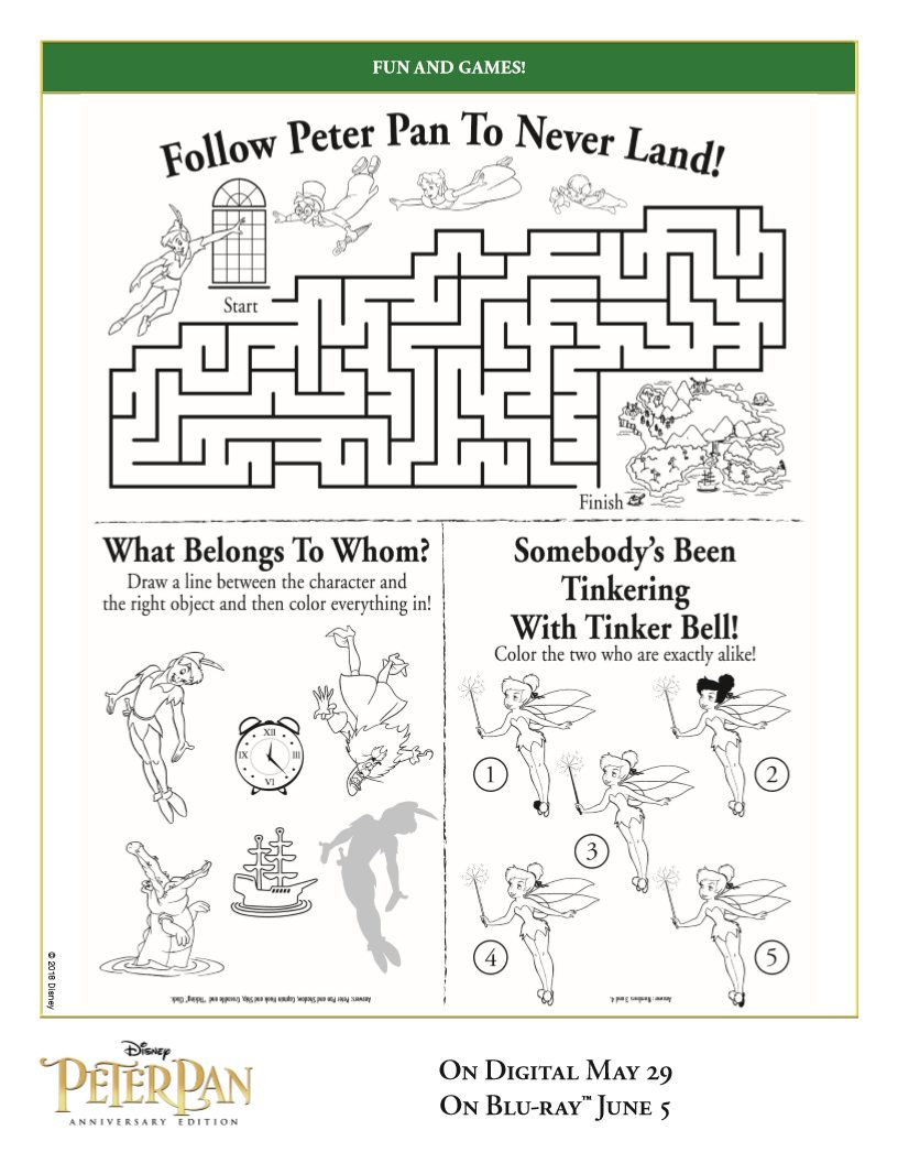 Free Peter Pan Activity Page