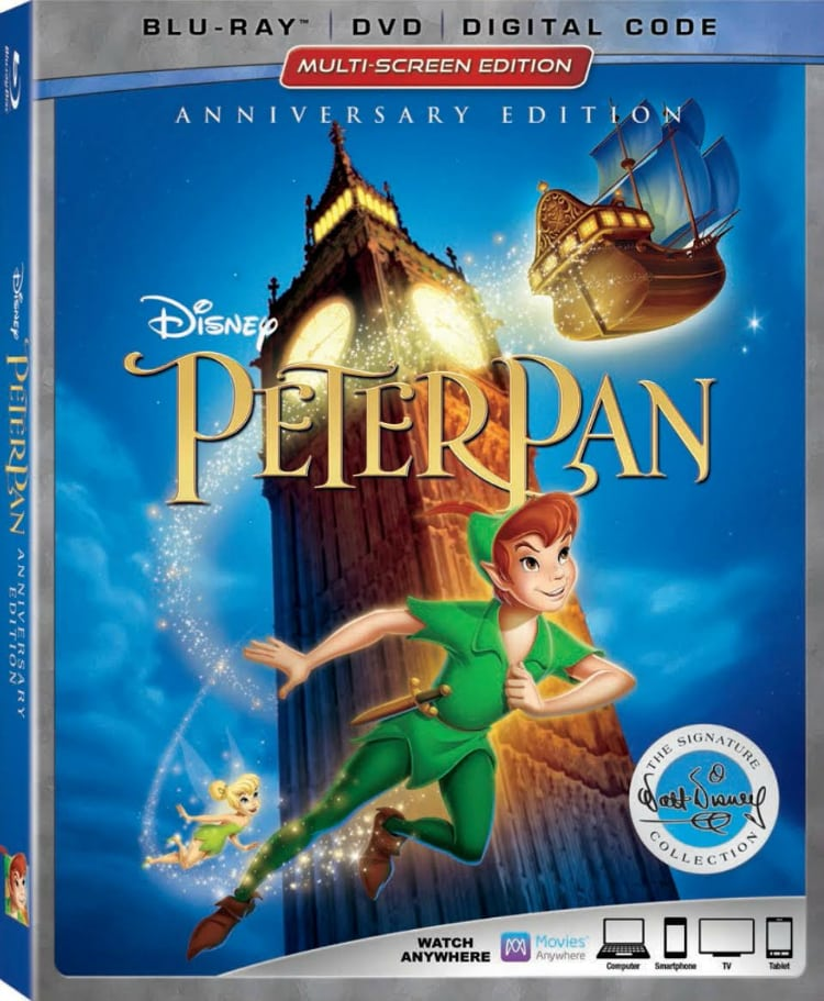 Peter Pan 65th Anniversary Edition blu-ray DVD Digital Code Multi-screen Edition