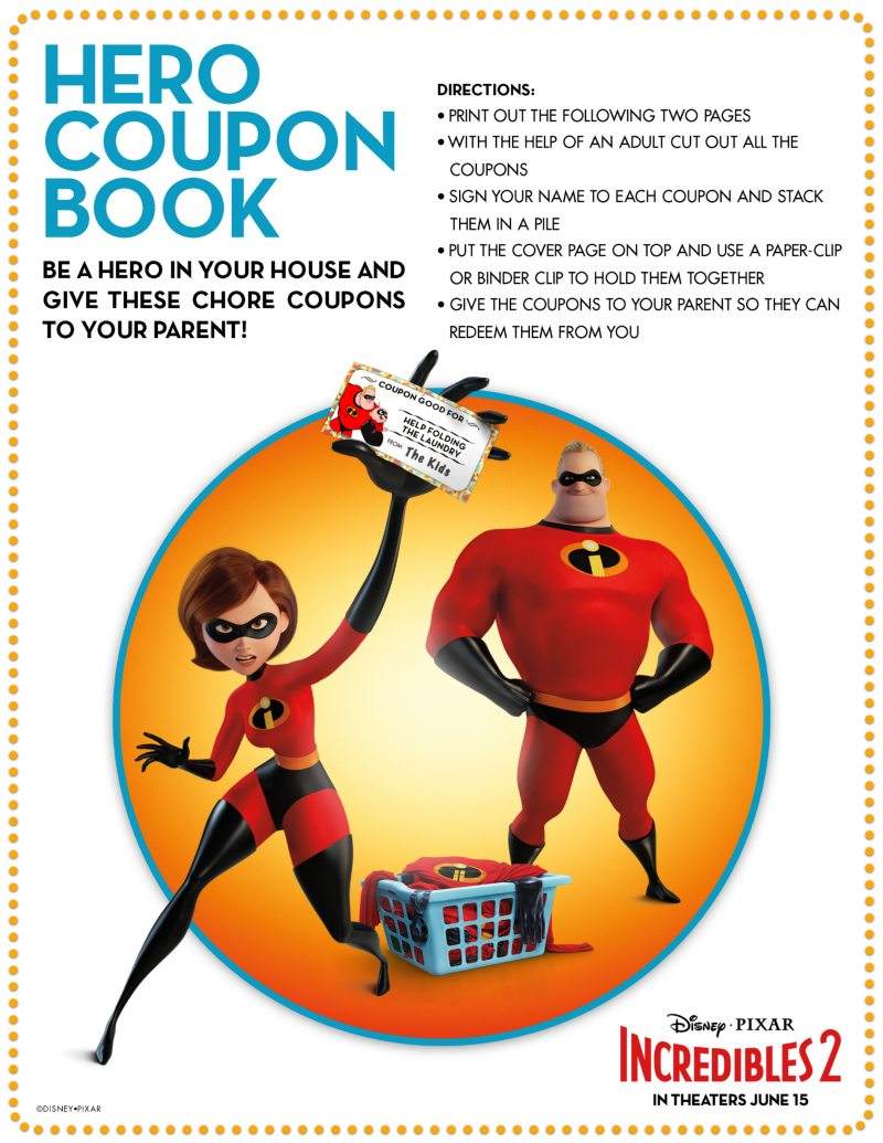 Incredibles Coupon Book - Free Printable Chore Coupons
