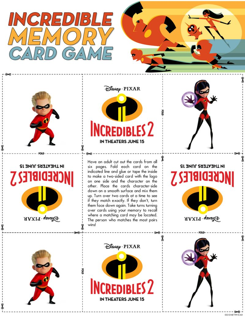 Incredibles Memory Game Free Disney Download