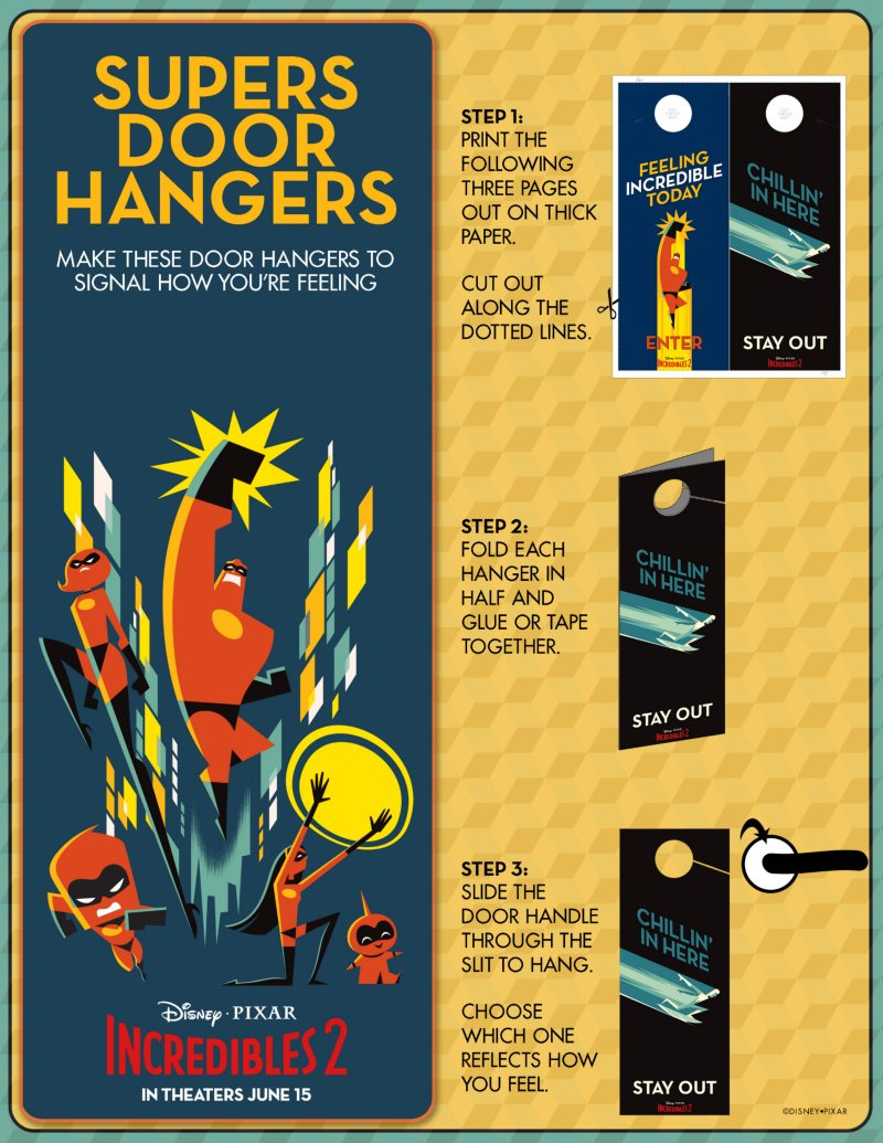 Printable Incredibles Craft Door Hangers