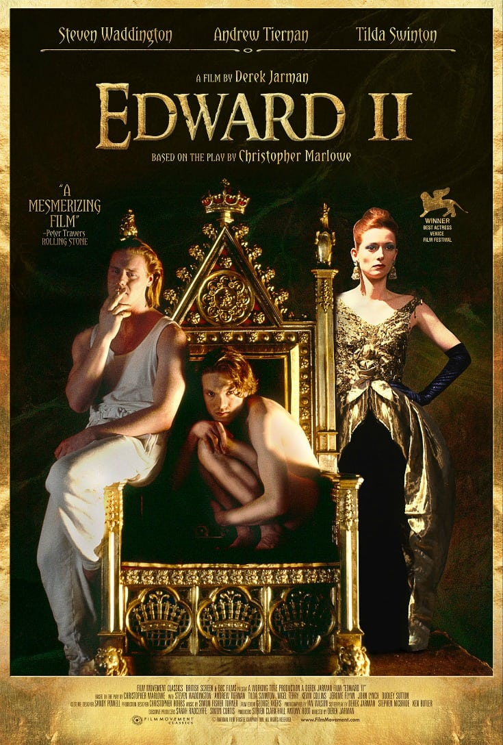 The newly restored Edward II movie is based on the classic Elizabethan tragedy by Christopher Marlowe, but it has modern settings and style.