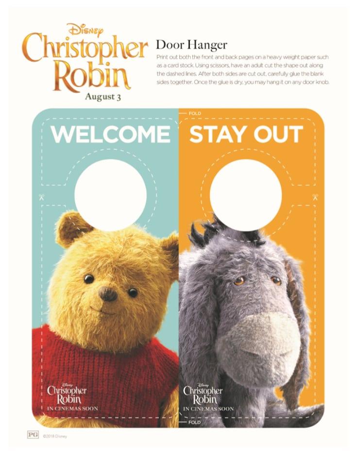 Pooh Door Hanger Craft