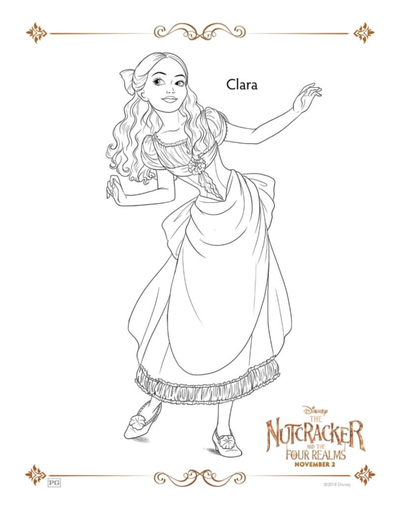 Disney Nutcracker and the Four Realms Clara Coloring Page - Free Printable
