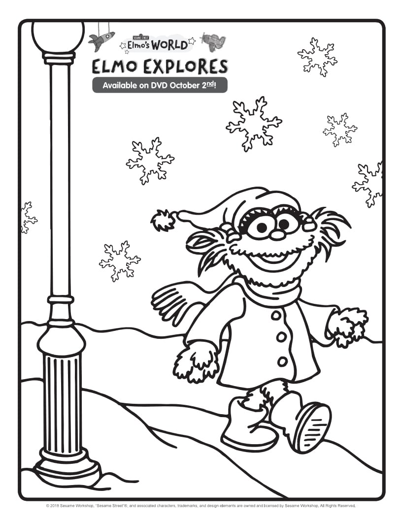 elmo explores coloring page