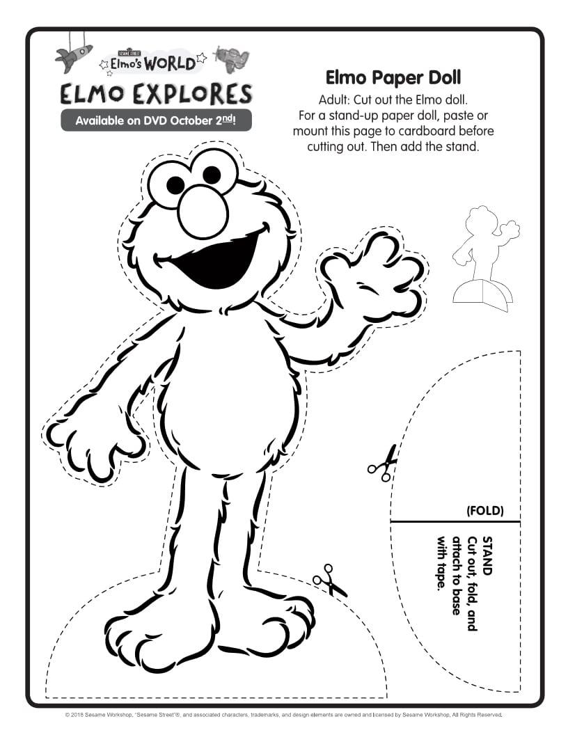 Free Printable Sesame Street Elmo Paper Doll Craft