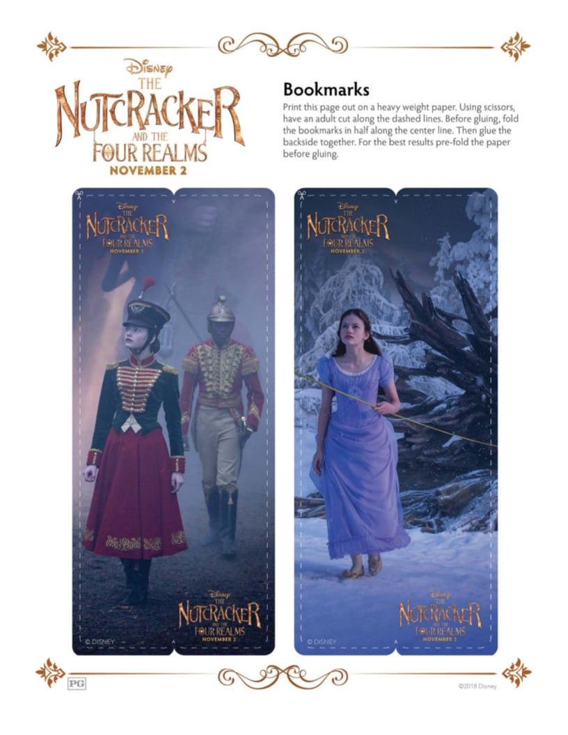 DIY Disney Nutcracker and The Four Realms Free Printable Bookmarks Craft