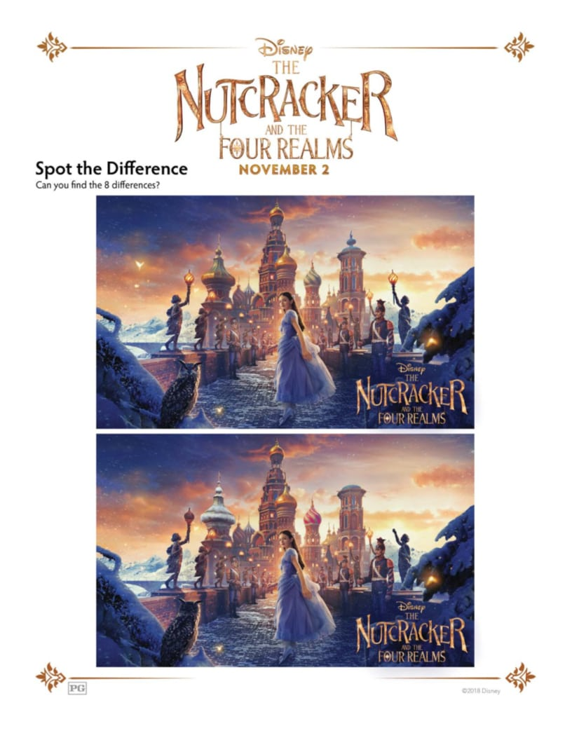 Free Printable Disney Nutcracker and The Four Realms Spot The Different Activity Page