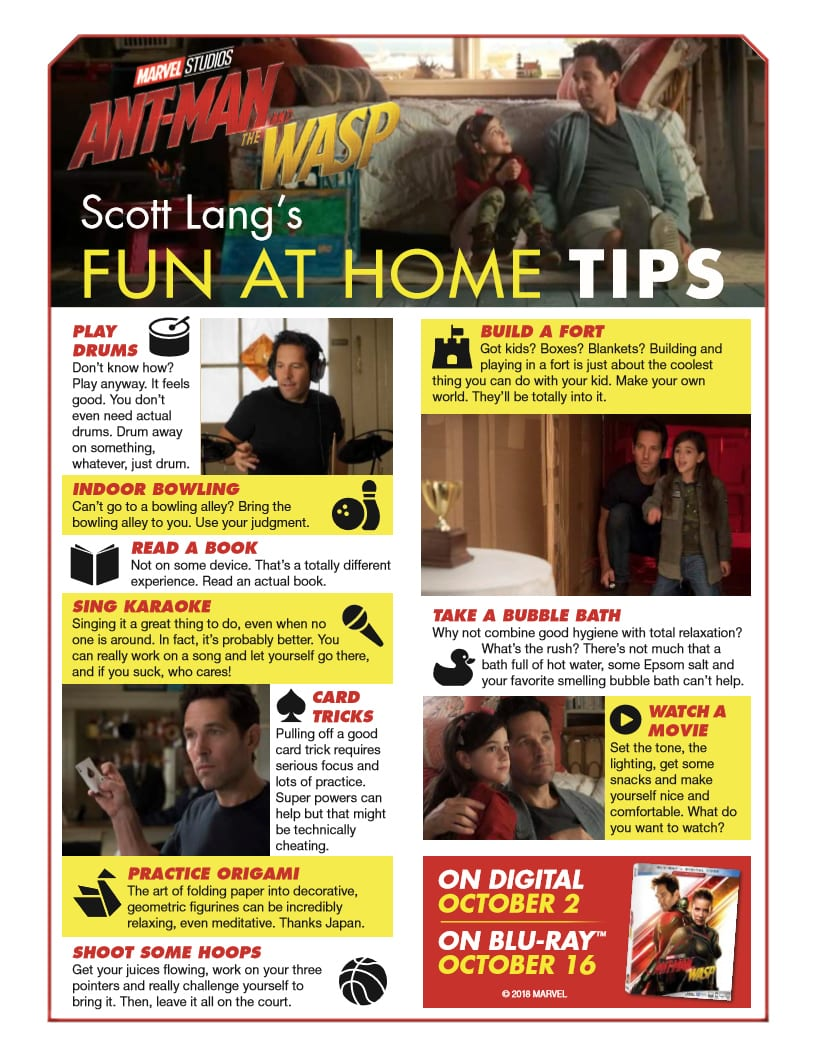 Marvel Ant Man Fun Tips from Scott Lang