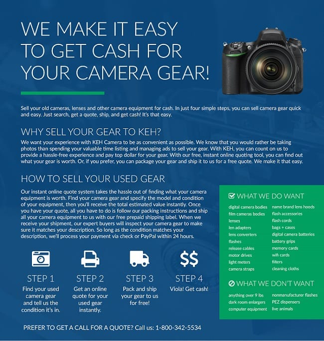 you can Get Cash for Camera Gear