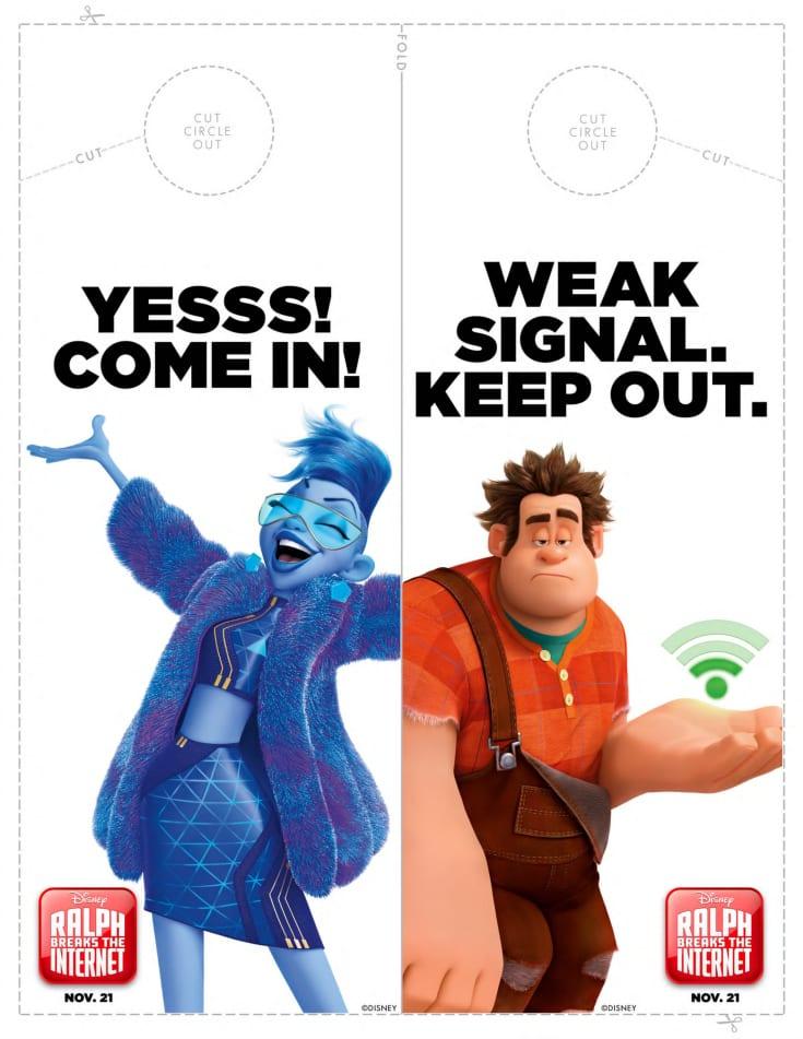 Free Printable Disney Ralph Breaks The Internet Door Hanger Craft