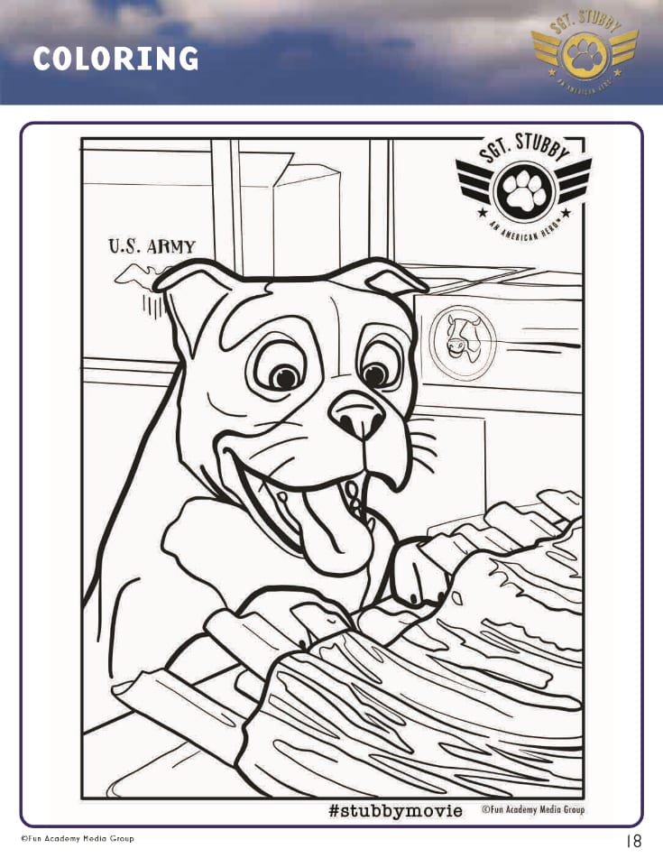pin sgt stubby coloring page