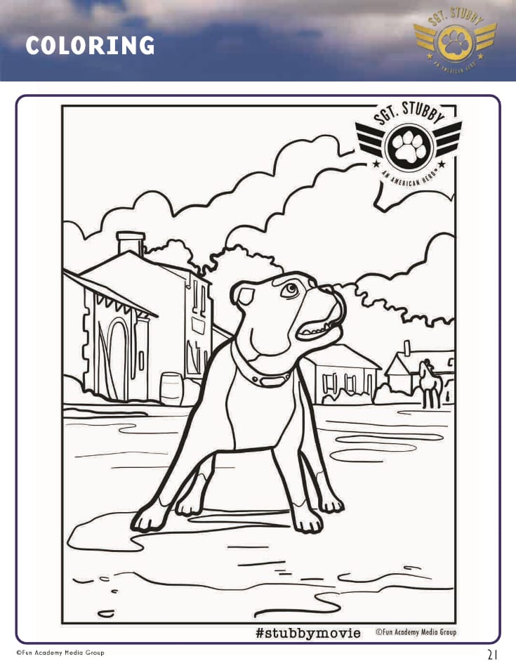 pin sgt stubby hero coloring page
