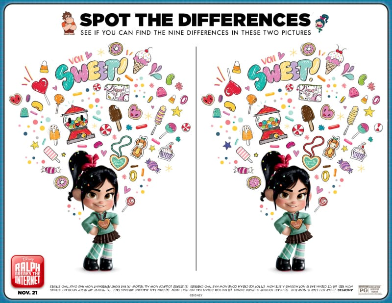 Disney Ralph Breaks The Internet Spot The Difference Activity Page - Free Printable