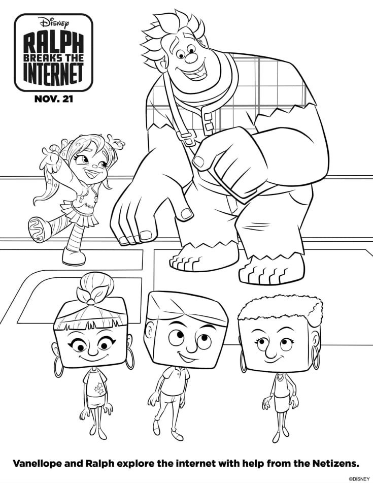 ralph vanellope coloring page