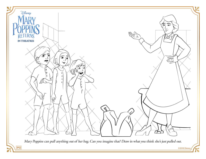 Free Disney Mary Poppins Returns Bag Coloring Page - Download the free printable coloring page, so you can color Mary Poppins bag, the Banks children, and the nanny, herself.