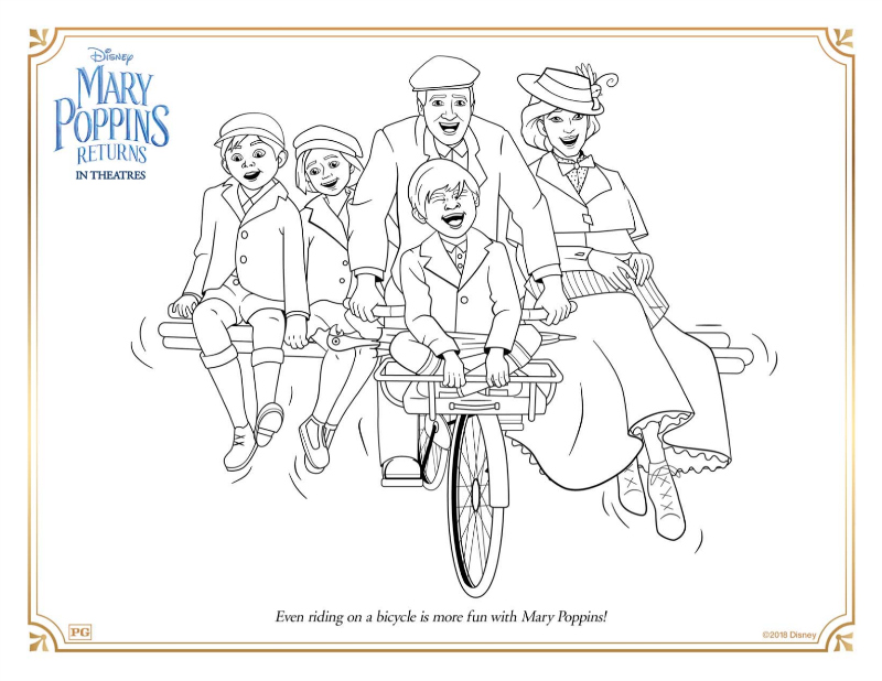 1 mary poppins bicycle coloring page