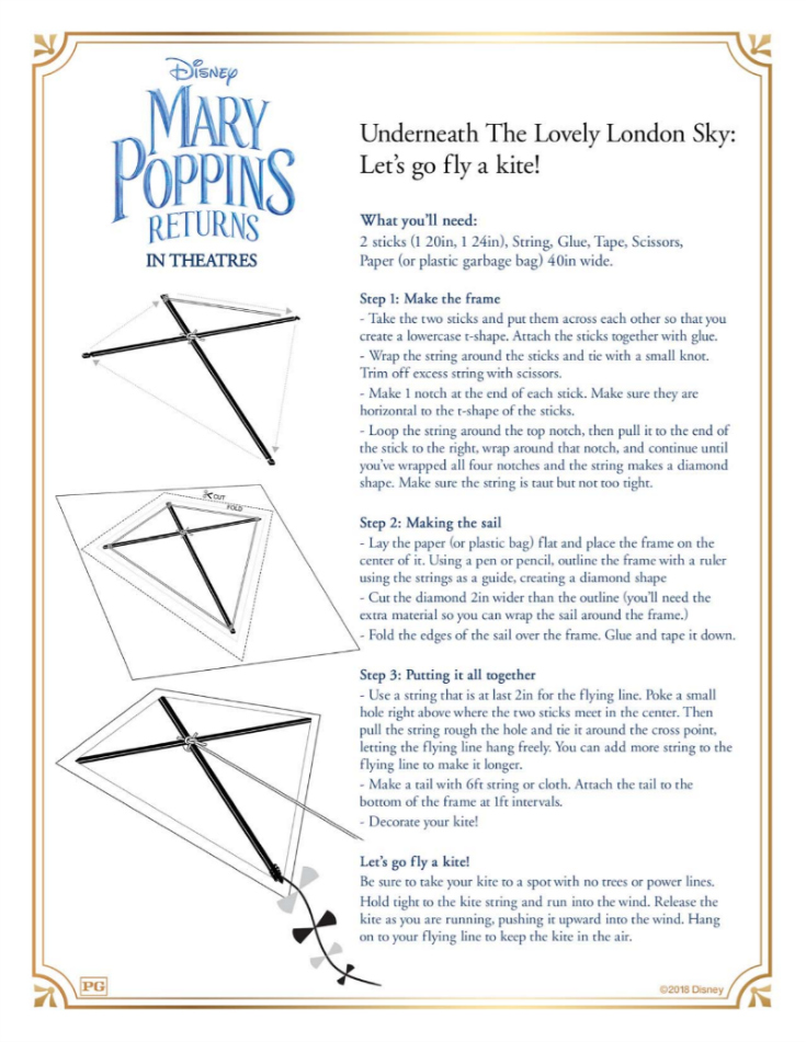 Mary Poppins Kite Craft DIY Instructions - Free Disney Mary Poppins Returns Printable
