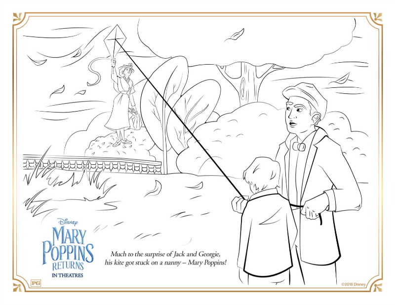 1 mary poppins kite coloring page