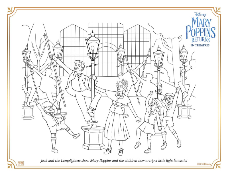 Mary Poppins Light Fantastic Coloring Page from Disney Mary Poppins Returns