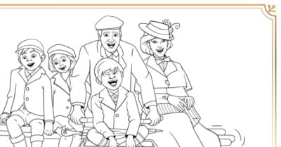 feature mary poppins bicycle coloring page