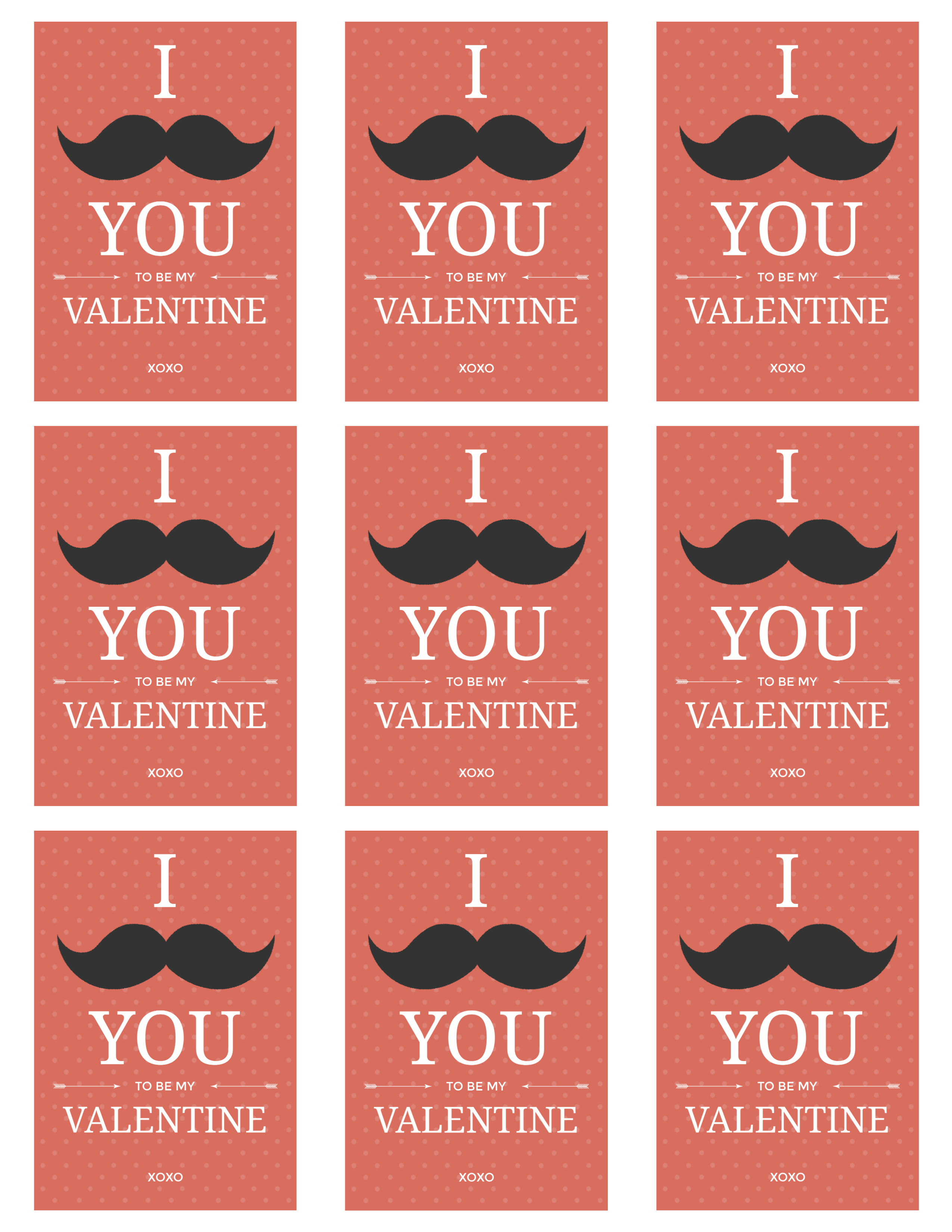 full page mustache valentines
